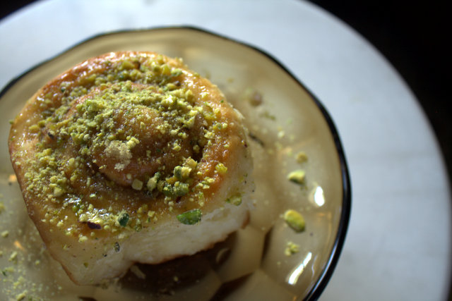 baklava, sticky bun, yeast dough, big fat greek wedding, pistachios