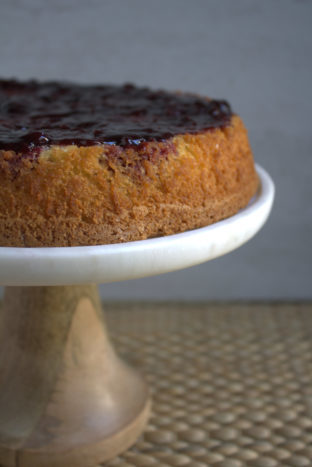rustic olive oil cake with blackberries and mascarpone cream